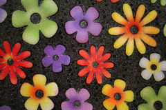 Flower door mat. Close-up of a colorful door mat Royalty Free Stock Images