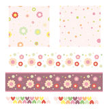 Flower, dot and heart pattern and trims Royalty Free Stock Images