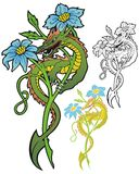 Flower dragon on fantasy blossom Royalty Free Stock Image