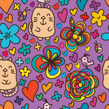 Flower draw cat bird butterfly cute seamless pattern. This illustration is design flower with cat, bird and butterfly colorful in purple background and seamless Royalty Free Stock Photos