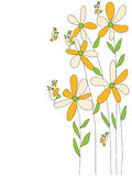 Flower Draw Orange Fly Bird Stock Images