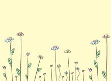 Flower drawing background. Elegant cute flower drawing background stock illustration