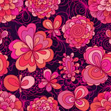 Flower drawing color pink cute seamless pattern Royalty Free Stock Images
