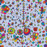 Flower drawing colorful seamless pattern Royalty Free Stock Images