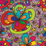 Flower drawing colorful style seamless pattern Royalty Free Stock Photos
