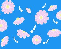 FLOWER DRAWING. FLOWERS DRAW WITH WHITE OUTLINE AND BLUE COLORED BACKGROUND stock images