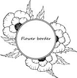 Flower drawing frame. Isolated template. Hand drawn floral wedding invitation, label template, anniversary card. stock illustration