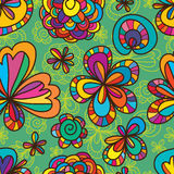 Flower drawing line seamless pattern Royalty Free Stock Photo