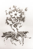 Flower drawing made in sand, ash, dust, dirt Stock Images