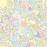 Flower drawing pastel color seamless pattern Royalty Free Stock Photography