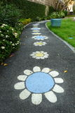 Flower Drawing on Path Way. Flower Drawing on Path Way in Public Park stock photo
