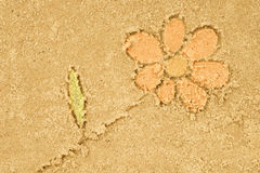 Flower drawing in sand. Background royalty free stock photo