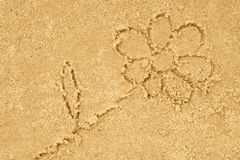 Flower drawing in sand. Background royalty free stock photography