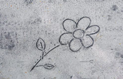 Flower drawing on sand. Close up to flower drawing on sand stock photo
