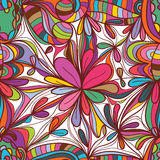 Flower drawing square seamless pattern Stock Photo