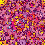 Flower drawing style chase sun seamless pattern Royalty Free Stock Images