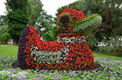 Flower Duck. A sculpture of a duck made of flowers in mainau island gardens Royalty Free Stock Photo