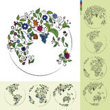 Flower Earth. Planet earth in the form of scattered flowers Royalty Free Stock Image