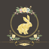 Flower Easter Chalkboard Greeting. A vector illustration of Flower Easter Chalkboard Greeting. Perfect for Easter day, Easter celebrations and greeting card Stock Image