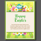 Flower easter poster. With colorful background Stock Photos