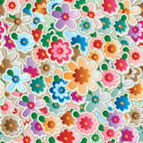 Flower effect sticker seamless pattern. Illustration colorful flowers effect sticker seamless pattern texture textile graphic wallpaper object Stock Image