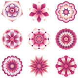 Flower Element Set. Set of 9 vector flowers with shading.  Colored using simple gradients and flat colors only.  Colors are just a few global swatches, so they Stock Images