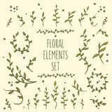08_flower_elements_set_2. Set of hand-drawn vintage floral elements Stock Photography