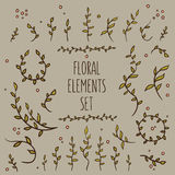 08_flower_elements_set_3. Set of hand-drawn vintage floral elements Royalty Free Stock Image