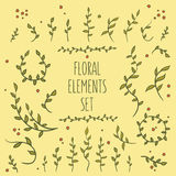 08_flower_elements_set_4. Set of hand-drawn vintage floral elements Stock Photo