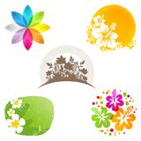 Flower emblems and labels Stock Images
