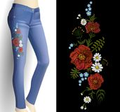 Flower embroidery on woman blue jeans 3d mockup. Fashion outfit detail rose poppy flower print patch vector illustration. Art Stock Image
