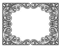 Flower engraving frame Royalty Free Stock Photos