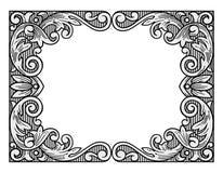 Flower engraving frame Royalty Free Stock Photos
