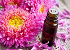 Flower Essence Bottle with Petals Stock Photo