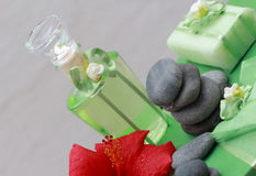 Flower essences. Oils, perfumes and fragrances for relaxation Stock Photography