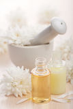 Flower essential oil and mortar Stock Photo