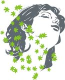 Flower face. Green floral scent in the spirit of the magical girl relaxing stock illustration