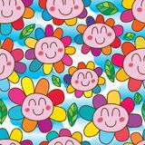 Flower face fat happy smile seamless pattern Royalty Free Stock Photography