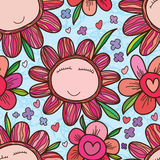 Flower face frame colorful seamless pattern Royalty Free Stock Photo