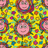 Flower face funny seamless pattern Royalty Free Stock Image