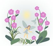 Flower Fairies. Little fairies flying between large Royalty Free Stock Photo