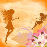 Flower fairies on the grunge background Royalty Free Stock Photography