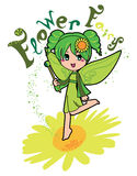 Flower Fairy. Cute flower fairy girl making green magic flying on top of a daisy flower Stock Image