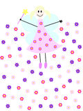 Flower fairy. A flying fairy with magic wand and flowers Stock Photo