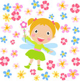 Flower fairy. A cute little flower fairy-illustration Royalty Free Stock Image