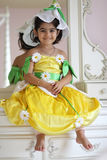 Flower fairy. A two year old girl dressed as a flower fairy for halloween stock photography