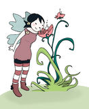 Flower fairy. A little fairy smells a flower. Digital illustration Royalty Free Stock Photo