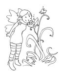 Flower fairy black and white. A little smiling fairy smells a flower. Black and white illustration Royalty Free Stock Photography