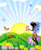 Flower fairy with butterflies in the meadow Stock Images