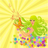 Flower fairy with butterflies. Vector illustration royalty free illustration